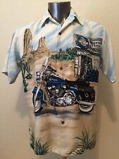 Harley-Davidson Button Front Casual All Over Print SS Shirt Men's M  EUC