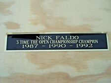 Nick Faldo The Open 3X Champ Nameplate For A Golf Flag Display Case 1.5 X 6