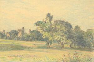 George William Collins (1863-1949) - Crayon, Bodiam Castle, Sussex