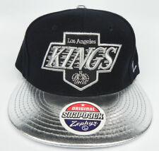 LOS ANGELES KINGS NHL FLAT BILL METALLIC SILVER SNAPBACK 2-TONE Z CAP HAT NEW!