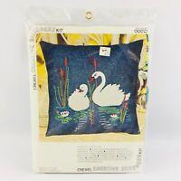 "Vintage Vogart Crafts 888B Swan Lake Crewel Embroidery Pillow Kit 13"" x 13"" New"