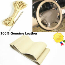 Genuine Leather Auto Car DIY Steering Wheel Cover With Needles and Thread Beige