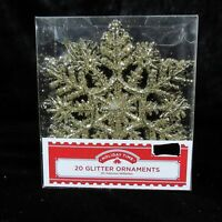 20 Holiday Time Gold Glitter Snowflake Ornament Christmas Tree Winter Decoration