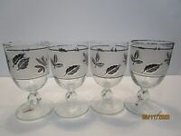 Four Vintage Mid Century 8 oz Glass Wine Goblets Frosted Leaf Pattern
