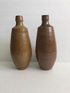 """2 VTG CAMPOS FILHOS AVEIRO PORTUGAL Pottery Stoneware Bottle 9-1/2"""" (Brown)"""