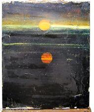 TABLEAU FIGURATIF COUCHER de SOLEIL signé 1976 27,5x22,5 cm