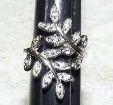 Beautiful Silver Tone Clear Rhinestone Flower Leaf Wrap Ring size 5.5-6  CC76*