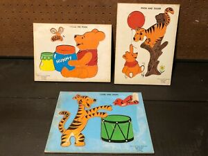 LOT of 3 Wooden Puzzles - Vintage Disney Winnie the Pooh - 1965 Pooh and Tigger!