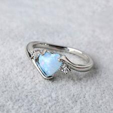 Charm Love Crystal Women Jewelry Cut Engagement Opal Rings Cubic Zircon Silver