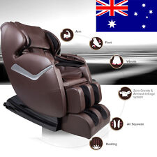 Genuine Real Relax Full Body Massage Chair Recliner ZERO GRAVITY Foot Rest Brown