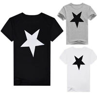 WR_ Fashion Men Star Crew Neck Short Sleeve Slim Fit Pullover T-shirt Casual Top