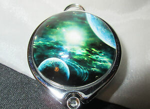 PLANETS SATURN SPACE STAR- CHROME ID BADGE REEL holder with Lanyard attachment