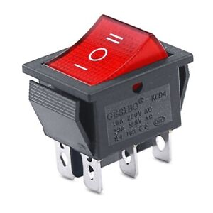DPDT Double Pole Double Throw 6-Pin (ON-OFF-ON) 20amp Red LED Rocker Switch