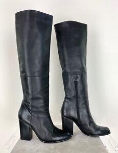 Stuart Weitzman 9 US 39 EU Black Soft Leather Tall Boots Heels Shoes Runway Auth