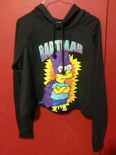 Simpsons Cropped Cut Hoodie Sweater Bart Bartman Super Hero Halloween Vtg Sz XL