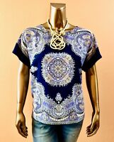 CHICO'S *NWT SIZE 2. (L) BLUE DAMASK DOLMAN SHORT SLEEVES BOXY LOOSE TOP $74