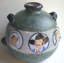 Enorme vase Art Déco aux émaux crispés, 8 portraits, signé L.E Impérial Amphora
