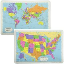 Painless Learning Educational Placemats Sets Usa Map And World Map Washable