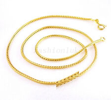 New Men Women Unisex 24K Yellow Gold Plated Braided Detail Chain Necklace 47cm