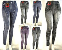 Leggings Donna Jeggings Nero Viola Blu C238 Tg M/L XL/XXL