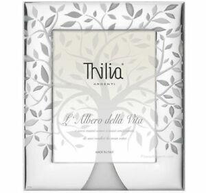 Cornice In Argento Thilia Albero Della Vita Foto 18 x 24 Retro In Mogano Bianco