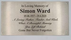 Brushed Stainless Steel  Memorial Plaque or Sign, Laser Engraved- 200 by 100mm