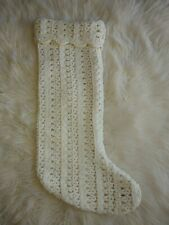 Cable Knit Crocheted Handmade Vintage Christmas Stocking with Cuff White