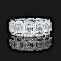 1Ct Emerald Cut Diamond Halo Eternity Wedding Band Ring 14K White Gold Finiish