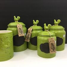 NEW!! 5pc Green Rooster Chalk Board Canister Set