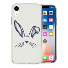 For Apple iPhone XR Silicone Case Bunny Rabbit Sketch - S299