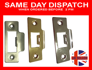 Door Strike Plate Polished Chrome or Brass Plates Tubular Mortice Latch