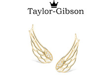 Gold Plated 925 Sterling Silver Angel wings crawler climber earrings stunning