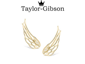 Gold 925 Sterling Silver Angel wings crawler climber earrings stunning