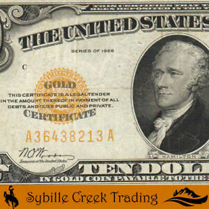 NICE 1928 $10 GOLD CERTFICATE NOTE Fr 2400 38213
