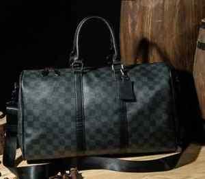 Men's Large Checkered Print Waterproof Travel Large Crossbody Bags Duffle Gym