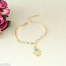 B2 Rose Oro Placcato Mano di Fatima Hamsa Crystal Bracciale Bangle