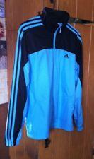 Women's Size Large Aqua and Black Stripe Adidas Lightweight Mesh Lined Jacket