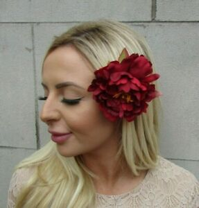 Large Deep Red Peony Rose Flower Hair Clip 1940s Vintage Style Fascinator 0754