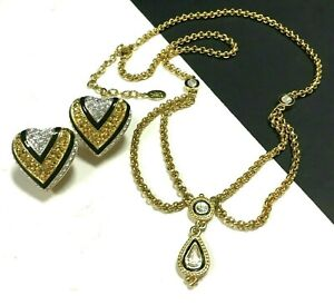 JOAN RIVERS Pave Crystal HEART Lariat Necklace & Clip Earring SET Black OO27ZRC