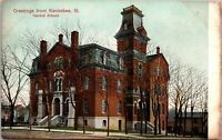 Postcard IL 1910s Kankakee Illinois Central School Greetings from Kankakee B12