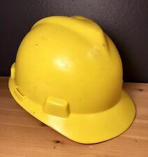 MSA Yellow Construction Helmet Hard Hat Protective Medium V-Gard w/ Suspension