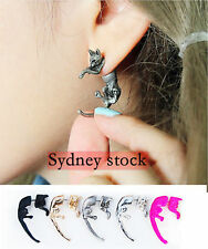 Black Silver Pink Chrome Gold Cat Wicca Witch Pagan Goth Punk Ear Stud Earring