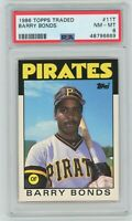 1986 Topps Traded BARRY BONDS ROOKIE PSA 8 Pittsburgh Pirates #11T Baseball CARD