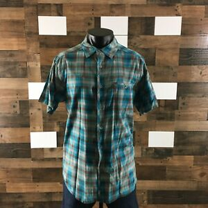 Men's Ibex Shirt Organic Cotton Plaid Short Sleeve Button Front Sz XL