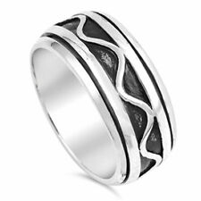 Men 9mm 925 Sterling Silver Oxidize Finish Wave Pattern Spinner Ring / Gift Box