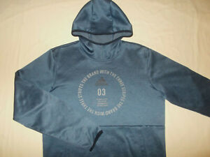 ADIDAS CLIMAWARM BLUE HOODED SWEATSHIRT MENS SMALL EXCELLENT CONDITION