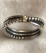 Pandora Rising Star Ring 14k Diamond Two Tone 925 Silver Ale 190243D Size 54 7