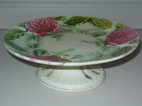 ANTIQUE French MAJOLICA PLATTER PLATE w PEDESTAL - CHANTILLY FRANCE - PINK ROSES