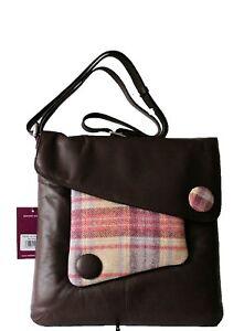 Mala Leather Abertweed Handbag Brown/Rose Large CrossBody Was £95.00