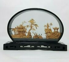 More details for san you chinese hand carved cork wood diorama - large 32cm - pagoda trees cranes